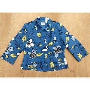 Emma James blue floral 3/4 sleeve Blazer 14p